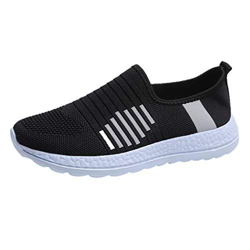 LHWY Zapatillas de Deportivas para Mujer Verano Planas Antideslizantes Suela Blanda Zapatos de Malla Elástica para al Aire Libre (41EU, Negro)