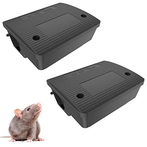 2Pack Rat Bait Stations, Rat Traps Outdoors Mouse Bait Trap for Rodent, Reusable Bait Boxes for Rodents Squirrels for House (Not Including Bait)