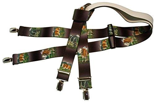 Hosenträger | Kuh-Motiv | Damen und Herren | One Size 120 cm | Anzug-Hosenträger | Arbeitskleidung-Hosenträger | Teichmann