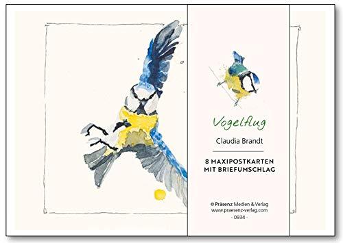 Maxi-Postkarten-Serie Vogelflug: 8 Maxipostkarten mit Umschlägen von Claudia Brandt