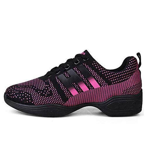 Zapatillas de Baile para Mujer Zapatillas de Baile de Hip Hop de Jazz Moderno Resbalón Transpirable de Malla Ligera Zapatillas de Deporte