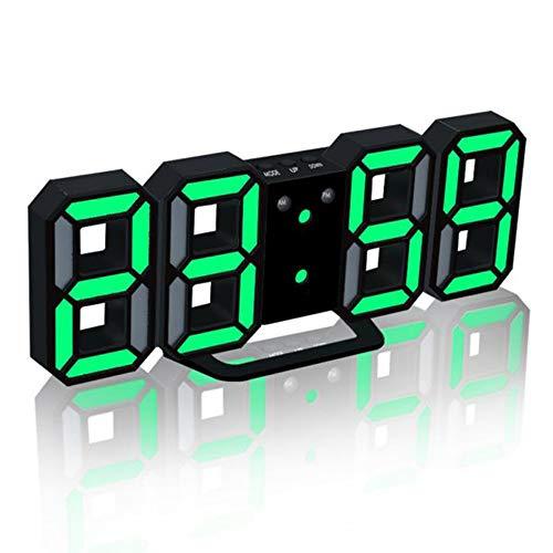 Galapara LED Digitaluhr Leuchtendes Wecker Digital LED USB Tischuhr 3D Wanduhr,Nachtmodus,3 einstellbaren Helligkeitstufen,24/12 Stunden,21,5cm Leuchtuhr Digital