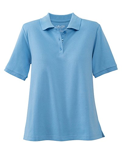 UltraSofts Short Sleeve Polo, French Blue, Petite Large