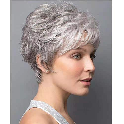 Short Gray Wigs for White Women Short Wavy Curly Wig with Bangs Natural Realistic Synthetic Hair Wigs Grey Mixed White Daily Hair Replacement Wigs + 2 Wig Caps