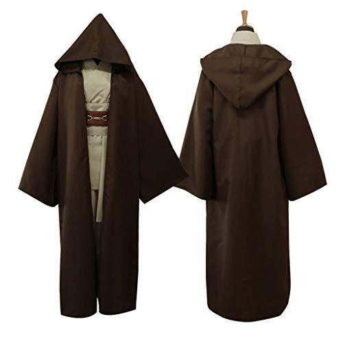 ZANZAN Disfraces de Halloween para hombres, conjunto completo de tnica con capucha, traje de Jedi para Halloween, cosplay, disfraz de Samuri, para hombres y mujeres (color marrn, tamao: XXL)