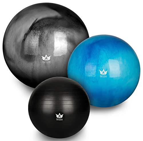 ZenOne Sports ZenBall Gymnastikball, Sitzball für Büro, Fitnessball für Reha, Sport, Yoga & Schwangerschaft, inkl. Luftpumpe, Maßband, E-Book & Workout-Guide, 75 cm, Breathtaking Black