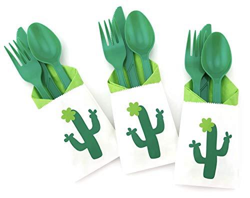 Cubertería de flores de cactus – Juego de 24 piezas Boho Fiesta Baby Shower cumpleaños despedida de soltera