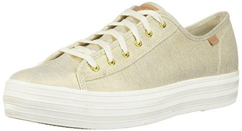 Keds Women's Triple Kick Tassel Natural Gold Sneakers Beige in Size 39.5 M