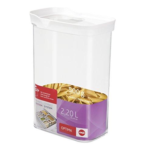 Emsa Boîte à Provisions, Empilable, Pour les Aliments Secs, 100 % Hermétique, 2,2 Litres, Rectangulaire, Blanc/Transparent, Optima, 514552