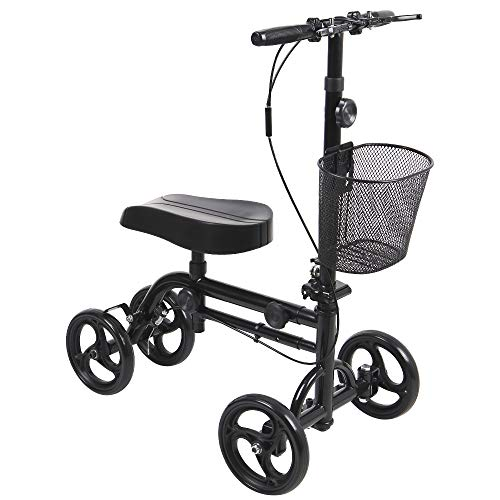 Give Me Dual Best Value Knee Scooter Steerable Knee Walker Crutch Alternative with Dual Braking System in Black