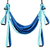 COSTWAY Aerial Yoga Swing Set with Carry Bag, 4 Steel Carabiners, 6 Handles, Professional Yoga Flying Strap Sling (Blue)