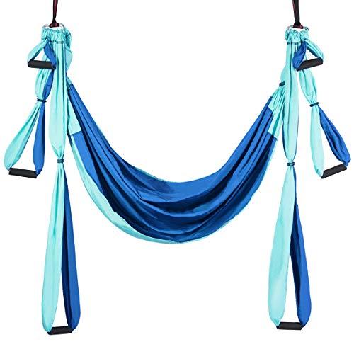 GOPLUS Aerial Yoga Hängematte Set, Yoga Swing Hammock Schwingen, Yoga Anti-Schwerkraft Schwingen mit Belastbarkeit 300kg, Sling Inversionswerkzeug Multifunktional für Gymnastik Pilates (Blau)