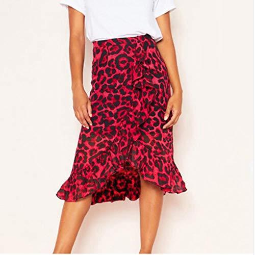 Azi Luipaard Patroon Lange Rok Vrouwelijke hoge Taille mid-Lengte Rok Vrouwelijke Ruffled Printed Rok Vrouw Zomer rood Vrije tijd