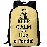 TTmom Zaini/Zaino Casual,Borse a Zainetto, Backpack for Adults Sad Animal Keep Calm and Hug A Panda Unique Outdoor