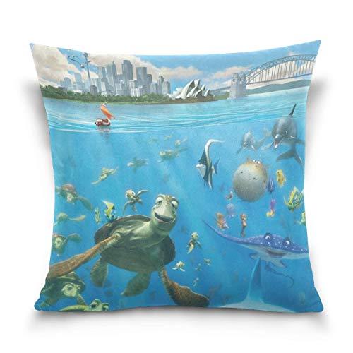 Finding Nemo Undersea Cotton Velvet Soft Decorative Square Pillowcase Cushion Cushion Pillowcase Home Decoration Sofa Sofa Bed Chair Fundas para Almohada 24x24Inch(60cmx60cm)