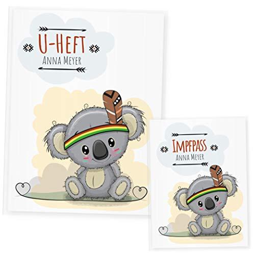 U Heft Hülle Set, Uheft Hülle & Impfpass Hülle Waldtiere, Ideales Geschenk zur Geburt (Uheft Set personalisiert, Koala)