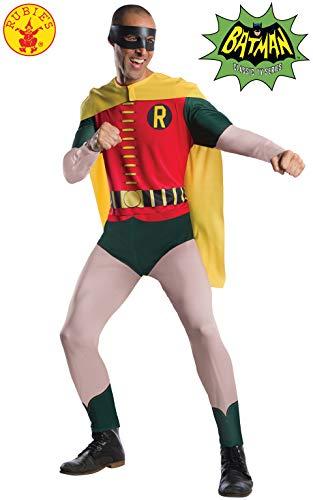 Disfraz oficial de Robin para hombre adulto, versión clásica de 1966 se convierte en parte de la Batman Duo, ideal para disfraces de Halloween Incluye mono todo en uno con detalles de impresión, capa amarilla y máscara de ojos negra. Este producto se...