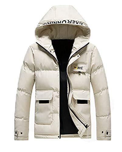 Cappotto Invernale con Cappuccio da Uomo Caldo Piumino Cappotto in Cotone Addensato con Cappuccio Rimovibile Plus Size Cappotti Invernali,Khaki,XL