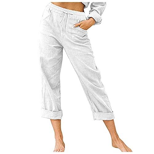 Pantalones Rizados de Pierna Recta de Cintura Alta para Mujer con Cordón y Bolsillos Pantalones de Cintura Elástica Ajustados de Color Sólido Pantalón Deportivos Casuales