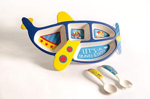 Set vajilla Infantil de bambú sin BPA. Incluye 3 piezas : Cubertería para niños Vaso y Platos para niños. (Azul)