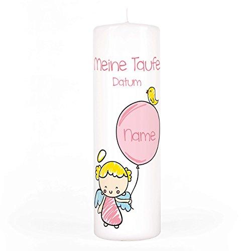 Striefchen® Taufkerze für Mädchen - Motiv: Schutzengel mit Luftballon - inkl. Gratis Beschriftung 250/80mm Brenndauer ca. 120 h