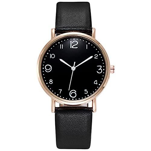 OWZSAN Mujeres Women Quartz Watch PU Cuero Banda Dial Negro Reloj De Pulsera Analógica Mujer Pulsera Relojes Cristal Reloj Regalo Zegarek Damski Reloj Digital (Color : B)
