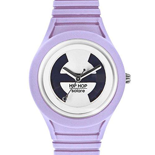 Hip Hop Watches - Orologio da Donna Purple Divine HWU0537 - Collezione Solare - Cinturino in Silicone - Impermeabile 5 ATM - Cassa 34mm - Lilla
