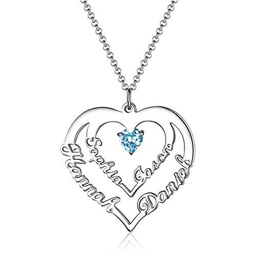zhaolian888 Namenskette Herz Personalisierte Kette Damen mit 4 Namen und Geburtsstein