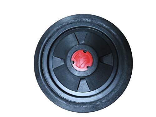Vollgummirad für WIDL Wippkreissäge Ø 250 mm, 20 mm Durchmesser Achse, Nabenbreite 57 mm, Kunststoff-Felge, mit roter Nabenabschlusskappe