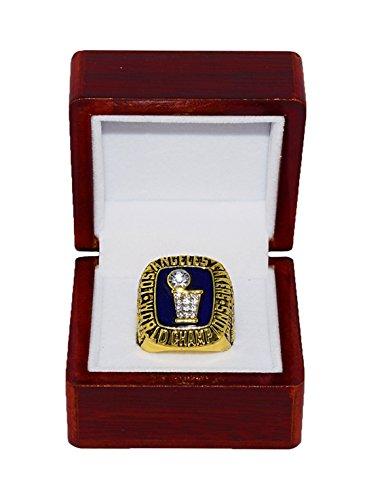 LOS ANGELES LAKERS (Kareem Abdul-Jabbar) 1985 NBA FINALS WORLD CHAMPIONS (Purple Reign) Vintage Rare & Collectible Replica NBA Gold Championship Ring with Cherrywood Display Box