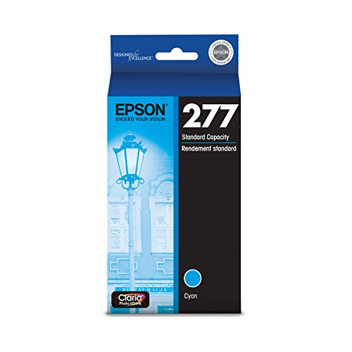 EPSON T277 Claria Photo HD Ink Standard Capacity Cyan Cartridge (T277220-S) for Select Epson Expression Printers