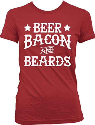 Hoodteez Beer Bacon and Beards Juniors T-Shirt, S Red