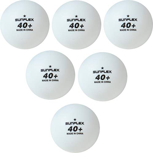 Find Discount Sunflex Table Tennis One Star Balls White - Pack of 6 Ping Pong Balls - Plastic 40+ Ta...