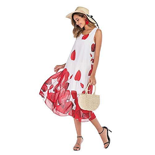 Vestido de Verano con Cuello en V Floral de Gasa Grande para Mujeres de 2020 Vestido de Mujer de Moda con Estampado Suelto