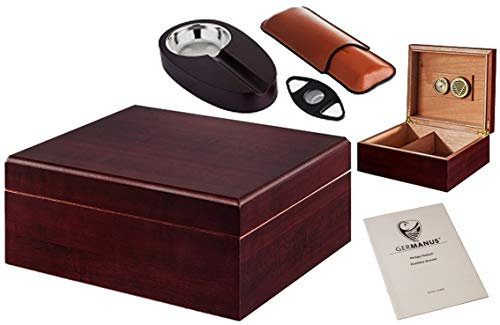 GERMANUS Zigarren Humidor Set mit Cutter, Zigarrenetui und Ascher in Braun