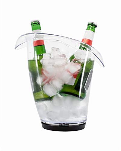 Stylgs - Secchiello per spumante con gocciolatoio | Vino - Refrigeratore in plastica trasparente | Infrangibile e lavabile in lavastoviglie | Secchio per un rapido raffreddamento