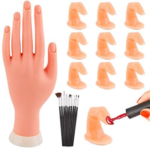 WXJ13 - Kit de 10 dedos con uñas, manos y brochas para práctica de manicura