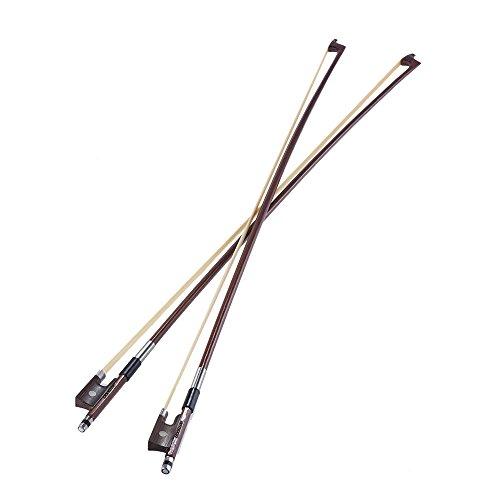 ammoon Full Size 4/4 Violine Geige Bogen Well Balanced Runde Brasilien-Holz-Stick Roßhaar Exquisite, Packung 2 Stück