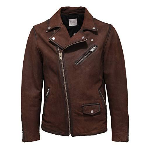 Selected 0972AC Giubbotto Biker uomo Homme Vintage Leather Brown Jacket Men