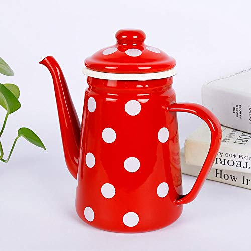 Teekannen Verdicken Sie Emaille Kaffee Hand Punch Pot Nostalgischen Retro Flower Tea Emaille Kettle-Red Und White Dots_1.1L