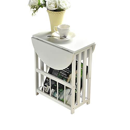 FEI Table d'appoint latérale avec panier de rangement Canapé Table d'appoint latérale Support à fleurs carrée avec support de rangement Étagère pour téléphone (Couleur : Blanc)