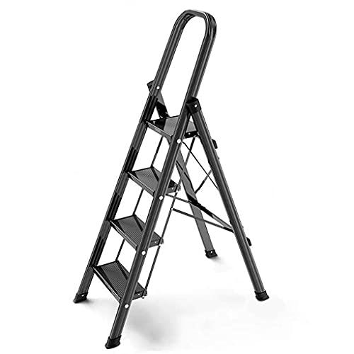YANSJD Escalera de Escalera de 3/4 de Aluminio, Ligera, Plegable, portátil, para el hogar y la Cocina, Escalera Antideslizante de 330 Libras