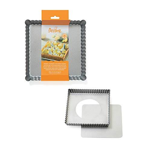DECORA Stampo Crostata Quadrato Con Fondo Mobile 21x21x 0070025 Quadratische Kuchenform mit beweglichem Boden 21 x 21 x H 3,5 cm, Antihaftbeschichteter Stahl, grau