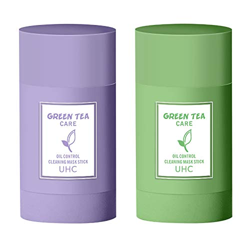 Soolike Green Tea Purifying Clay Face Mask Stick Deep Cleansing Oil Control Anti-Acne Solid Mask, Eggplant Hydrating Blackhead Remover Facial Mask Repair and Shrink Pores (Green Tea + Eggplant)