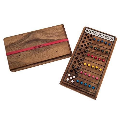 ROMBOL Superhirn - Color Finder - 6 Farben, mehr Spielspaß, 2 Personen, Holzspiel inkl. praktischem Verschlussband