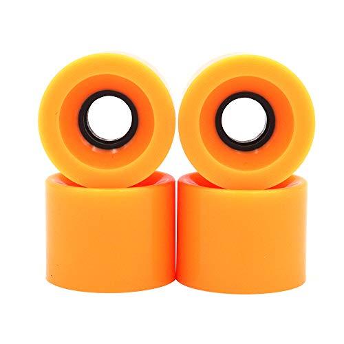 POFET Longboard Skateboard-Räder, 60 x 45 mm, 78 A, Ersatzräder auch für Cruiser Pennyboard Waveboard Snakeboard, gut für Anfänger, 4 Stück, orange