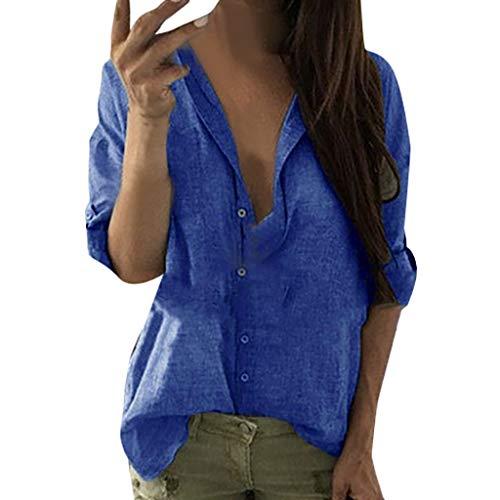 Damen Sommer Herbst T-Shirt O Ausschnitt Lange Ärmel Anstecknadel Lose Beiläufige Frauen Sexy Solide Bedruckt Stretch Jahrgang Weste Tee Hemden Große Lose Bluse Tops (EU:42, Blau)