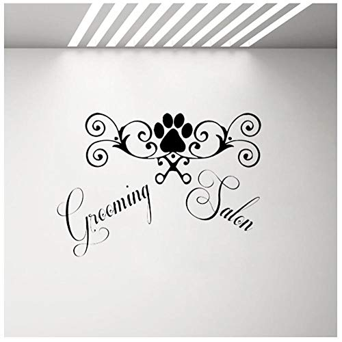 Wall Vinyl Stickers Petshop Grooming Salon Dog Scissors Comb Home Decor Art Design Window Decals Removable Posters 80x57cm