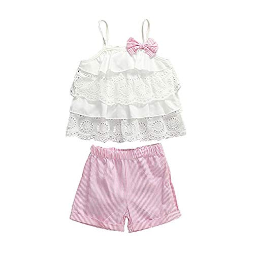 Toddler Baby Girl Summer Outfits Set Halter Ruffle Tutu T-Shirt Vest+Floral Fruit Print Shorts+Sunhat Clothing Set (4-5 Years, White Lace Layered - Pink Strips)