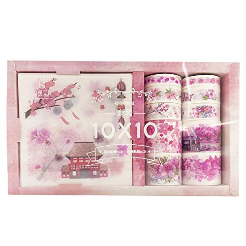 Feilikaマスキングテープ セット 和紙テープ 手帳テープ 日記手帳飾り付け カラーフル 装飾用テープ ステッカーテープ 可愛い DIY装飾 剥がしやすい (桜)